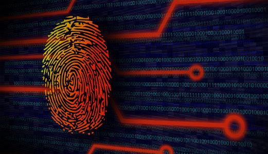 Online Security Concept - Fingerprint on Virtual Screen